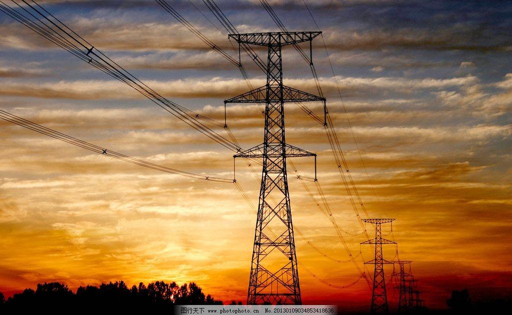 朝阳照耀 输电线路 日出 彩虹 输电塔 线路 自然风景 自然景观 摄影