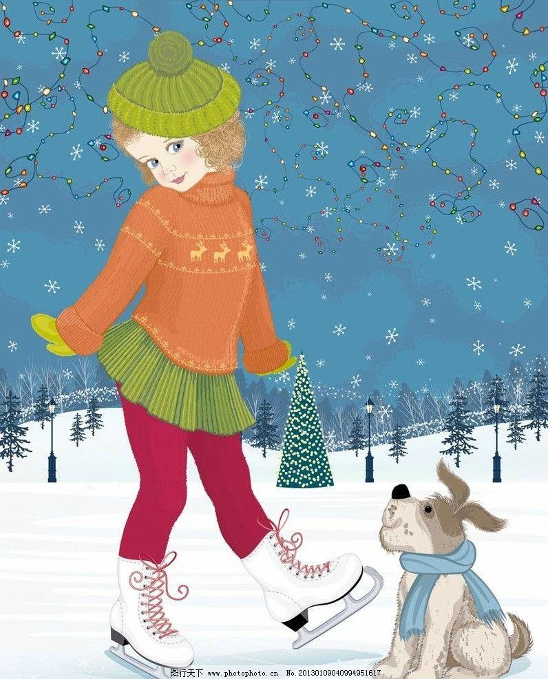 雪地溜冰的小女孩 可爱 卡通 小女孩 溜冰 滑冰 彩灯 儿童 孩子 漂亮