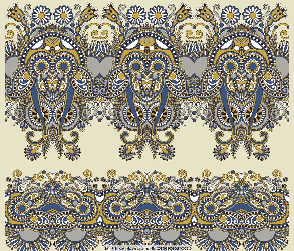 欧式手绘花纹图片