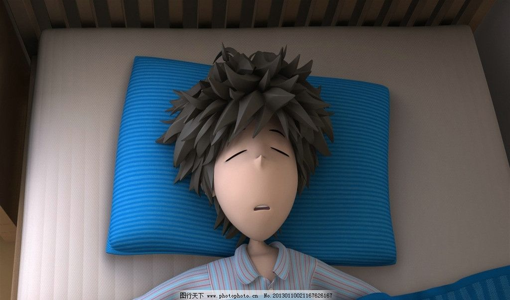男孩睡觉赖床图片