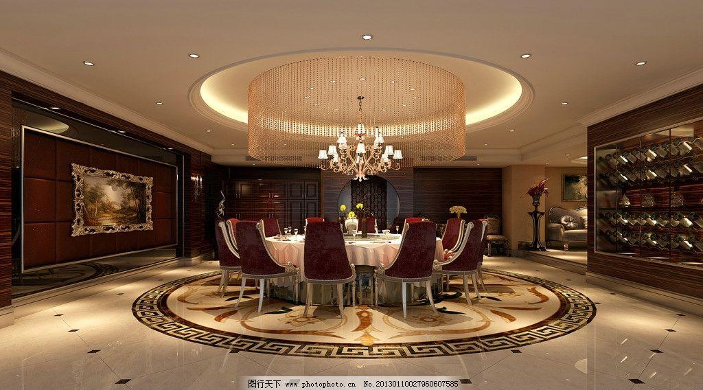 酒店包厢 室内 设计        圆形 吊顶 酒店 包房 豪华包房 红酒柜 室