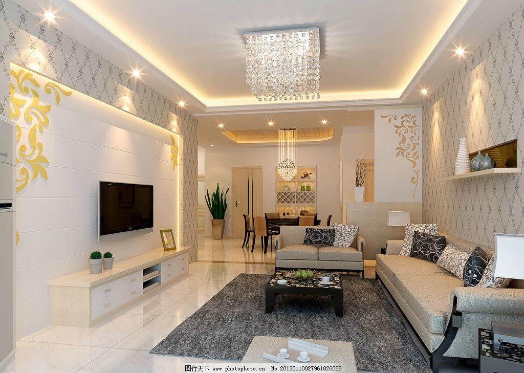 室内客厅 室内设计效果图      餐厅 玄关 吊顶 沙发 电视背景墙 室内