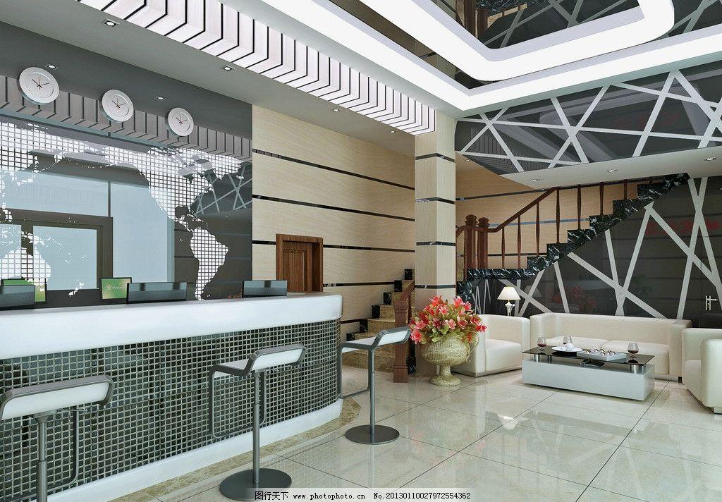 酒店前台 室内 效果图 大厅 大堂 收银台 楼梯 酒店服务中心