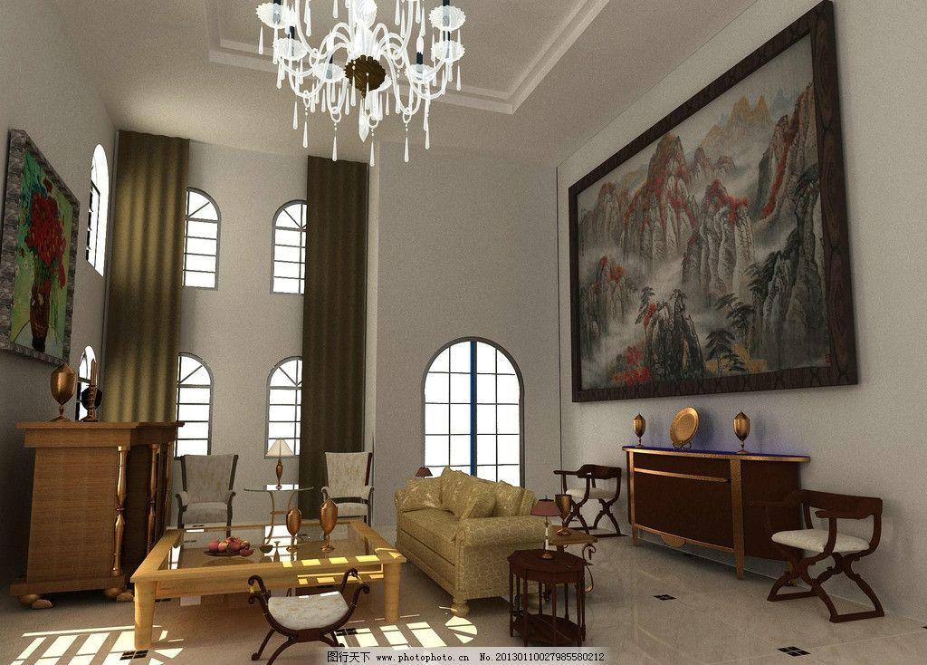 室内客厅 室内设计效果图      欧式风格 壁炉 沙发 壁柜 室内设计