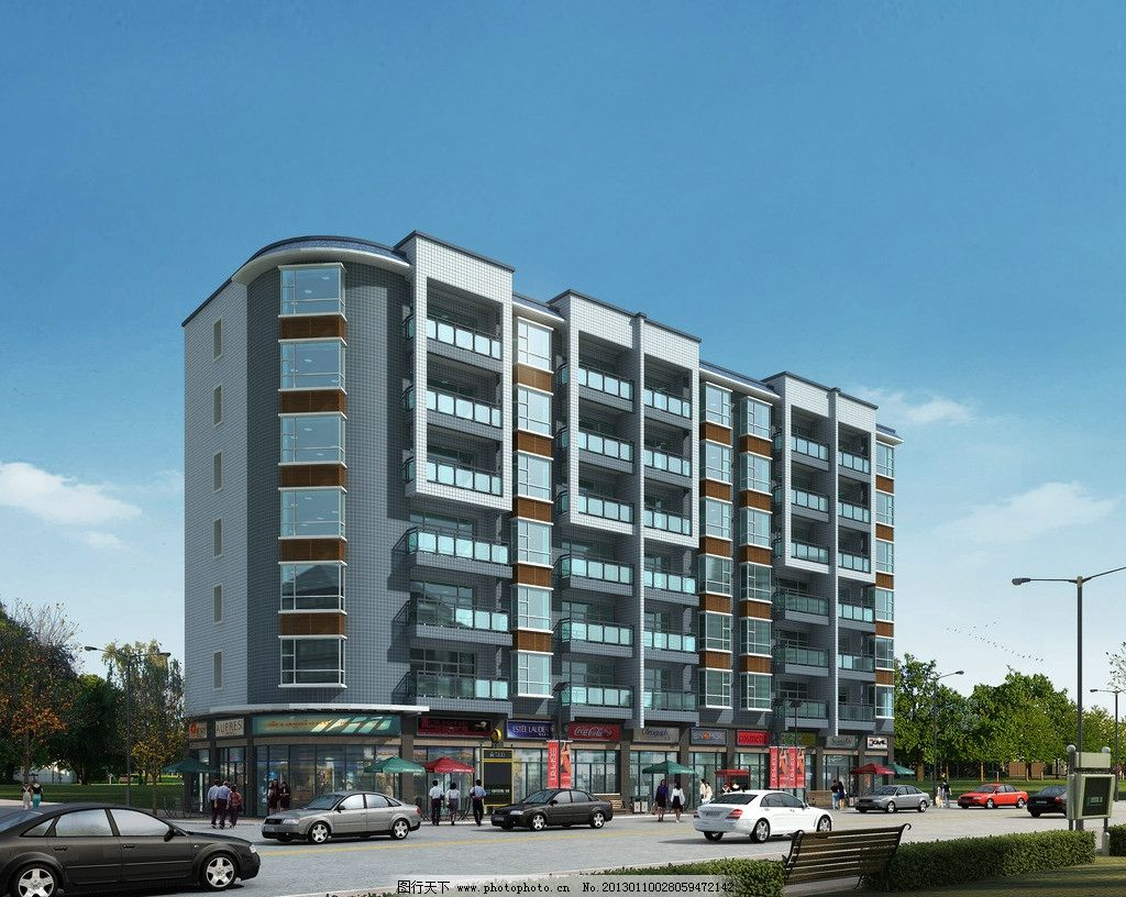 住宅楼        建筑 临街 轿车 小车 房屋 路灯 景观 蓝天 建筑设计