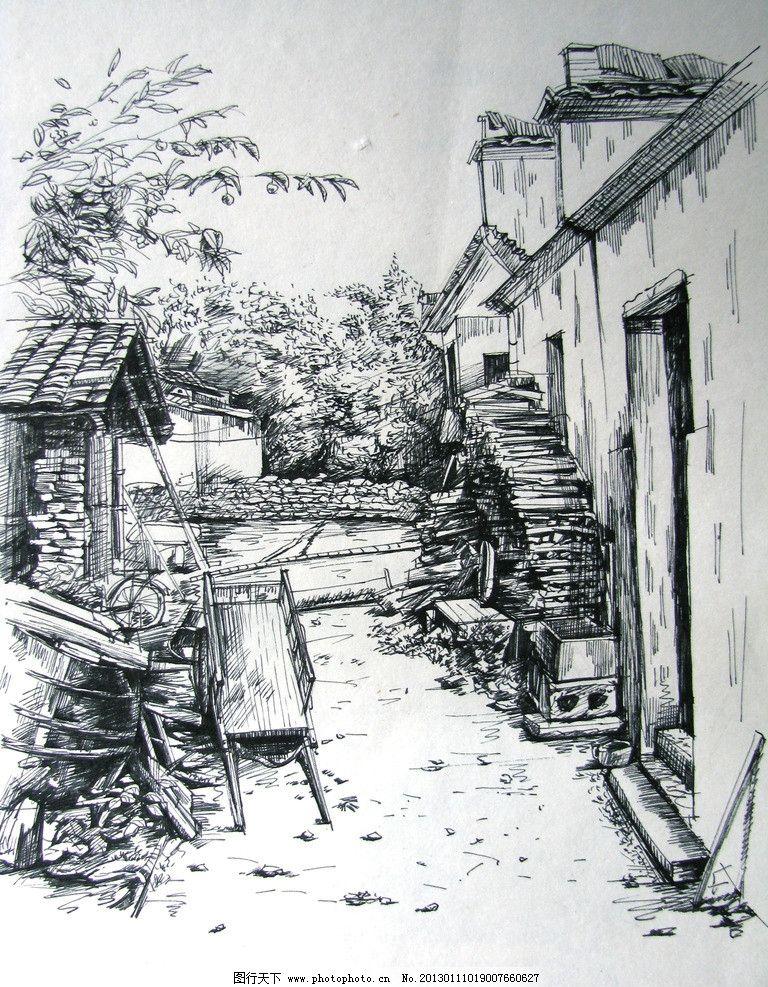 宏村 速写 建筑 线条 复古 房屋 绘画书法 文化艺术 设计 180dpi jpg