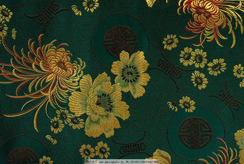 传统刺绣花纹 底纹 花纹 刺绣 花样 黄色 绿色 菊花 背景底纹 底纹