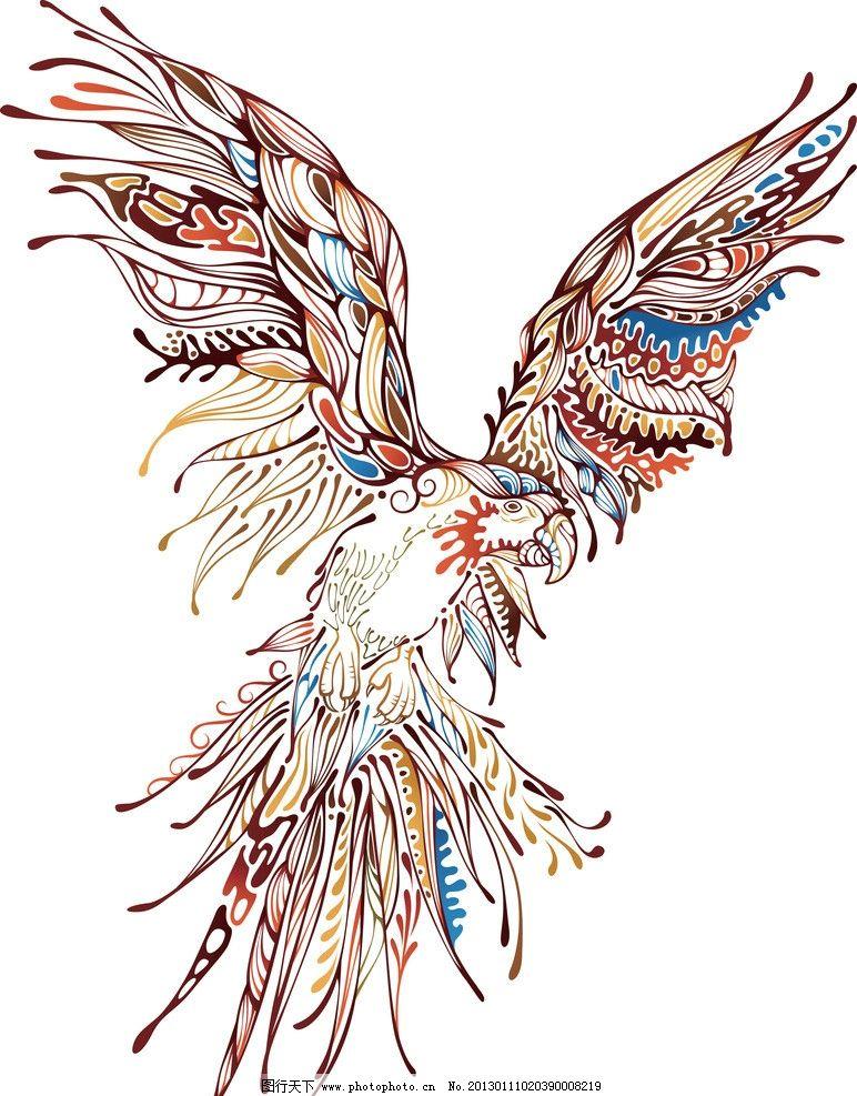 矢量素材 鹦鹉 巴哥 花纹 创意 潮流 纹样 老鹰 花边 时尚花纹 线条