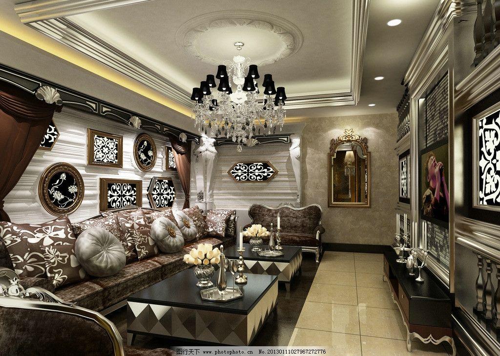 ktv包房效果图 ktv效果图 灯 沙发 立体 背景墙 复古 室内设计 环境图片