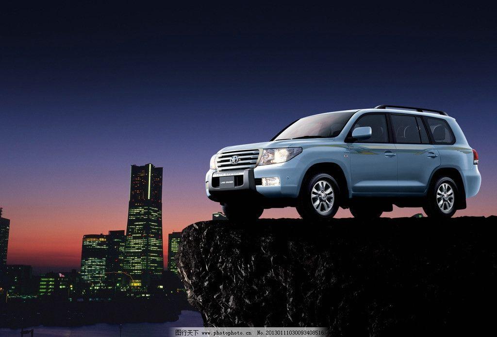 丰田 越野车 汽车 轿车 建筑 岩石上的车 广告设计模板 源文件