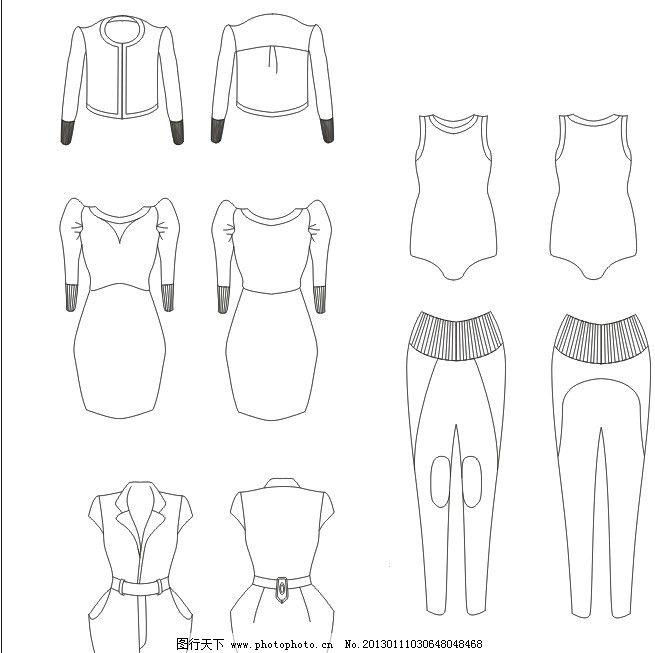 针织类服装款式图 连身裙 连身裤 长裤 小外套 服装设计 广告设计