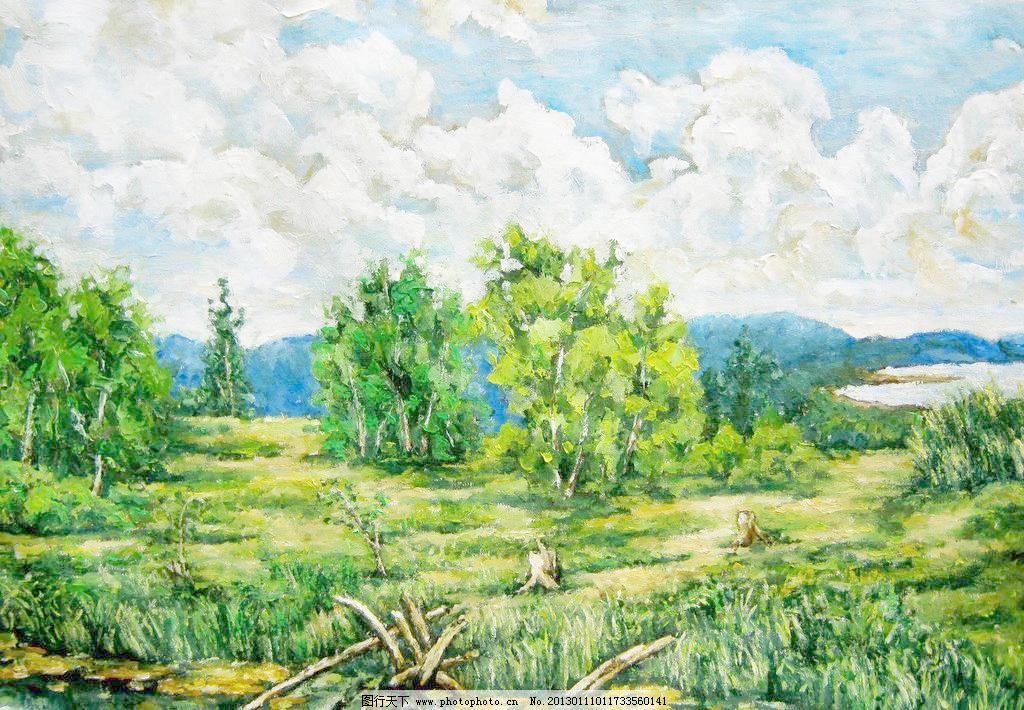 草地翠滴模板下载 草地翠滴 美术 油画 风景画 草地 树木 野草 水洼地