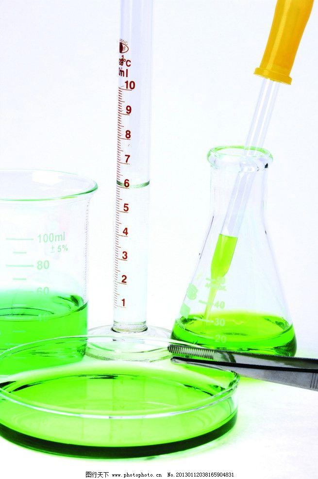 量杯 刻度量杯 试管架 彩色液体 生物科学 生物研究 生物实验室 科学