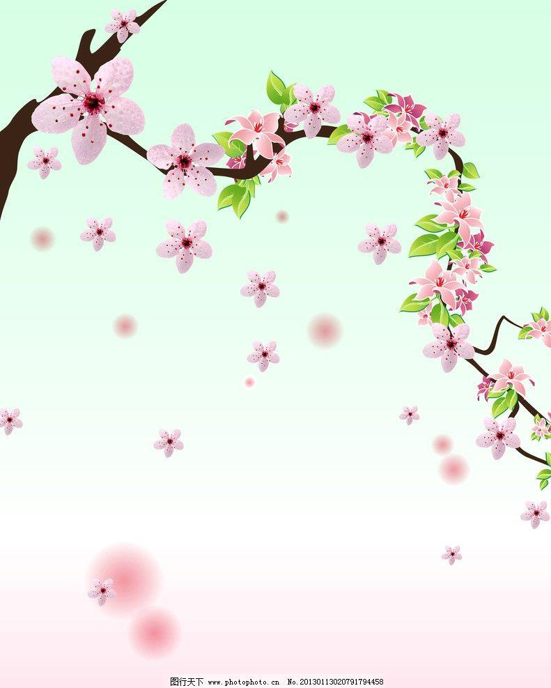 花朵移门 梅花 花瓣 绿叶 底纹边框 移门图案图片