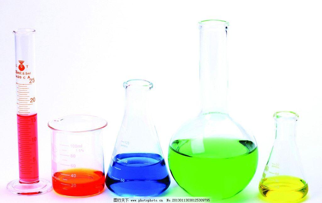 实验用品 科学实验 试管 玻璃试管 量杯 刻度量杯 试管架 彩色液体