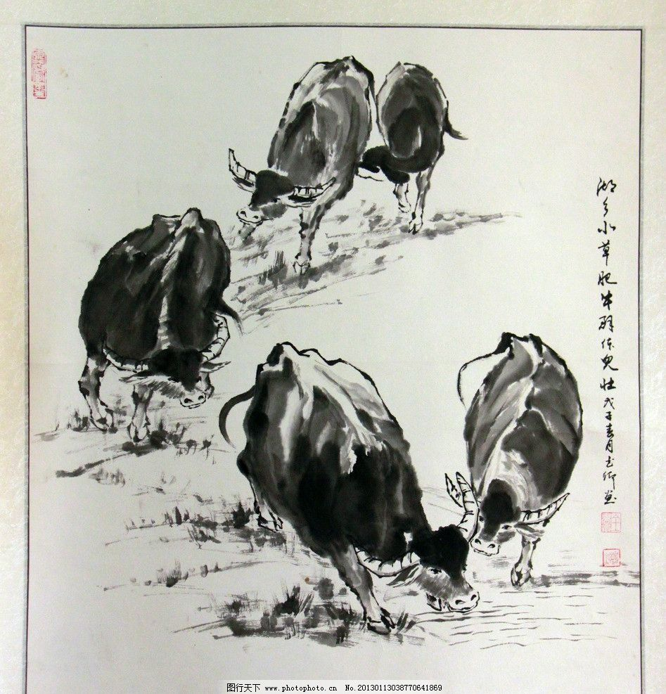 水墨牛 中国画 水牛 水墨绘画 乡村动物 乡村景观 书画展摄影 美术