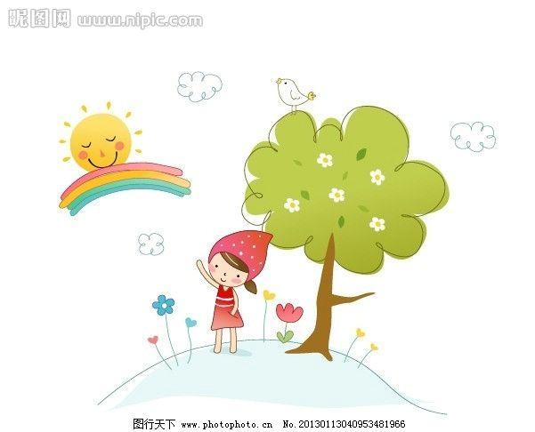 可爱儿童 可爱风格的儿童矢量插画 卡通线条风格可爱儿童插画 韩国