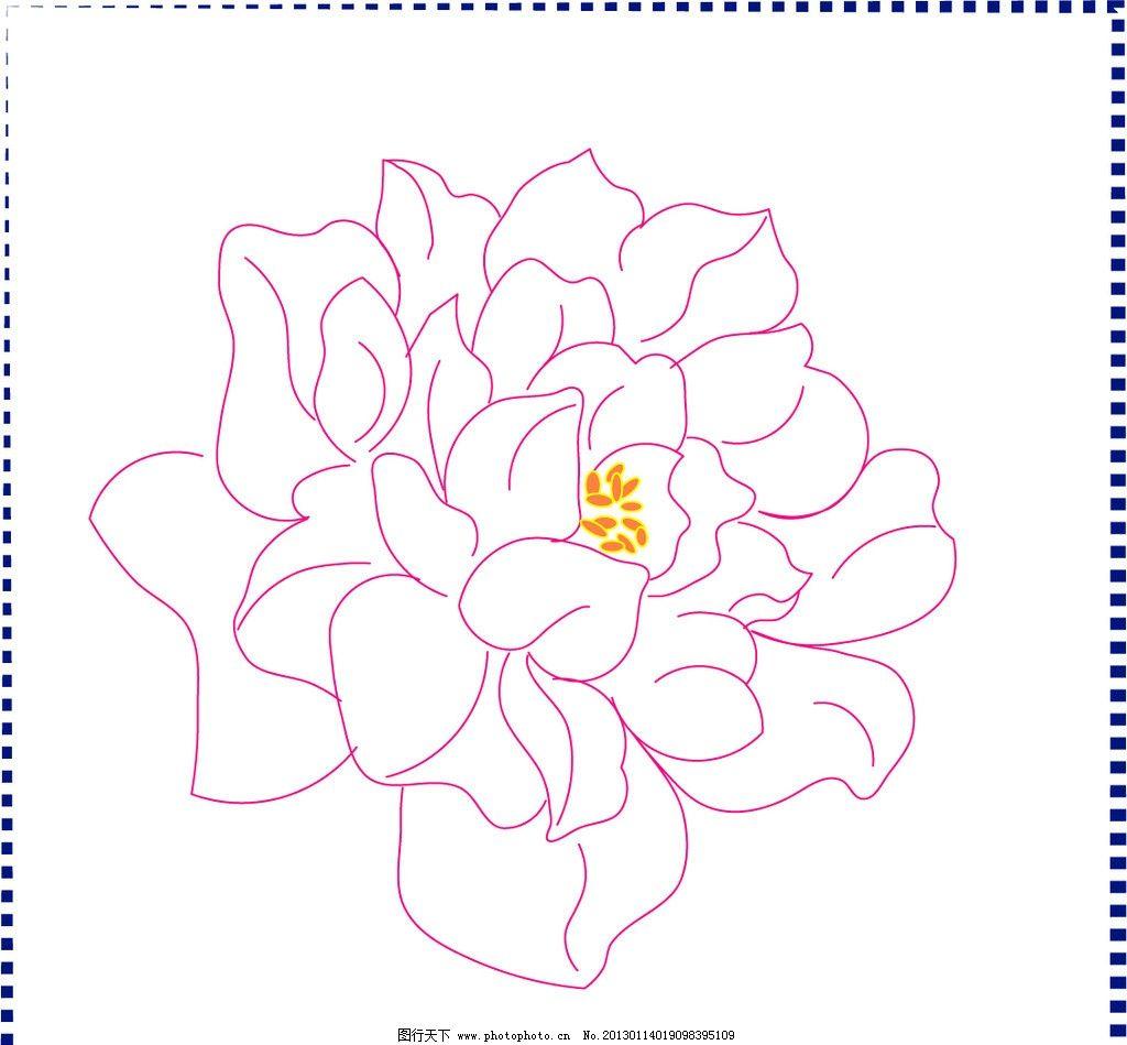 线描花卉 线描 花卉 牡丹