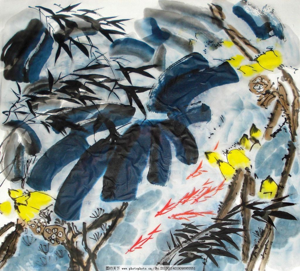 荷花鱼 美术 中国画 水墨画