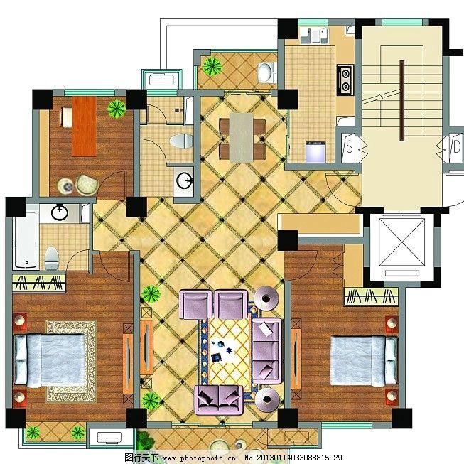 户型图 室内平面布局 平面家具 地面铺装 源文件