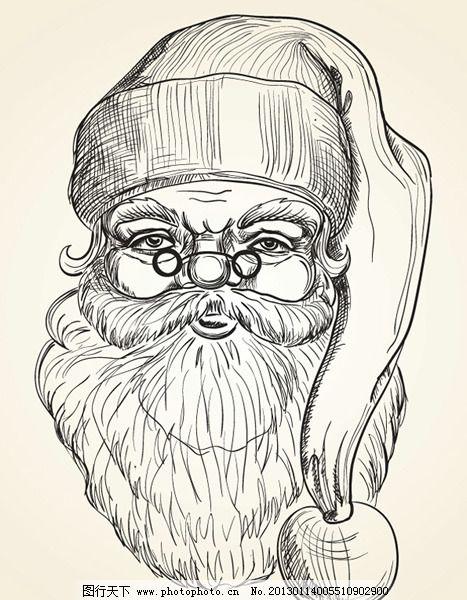 圣诞老人头像手稿