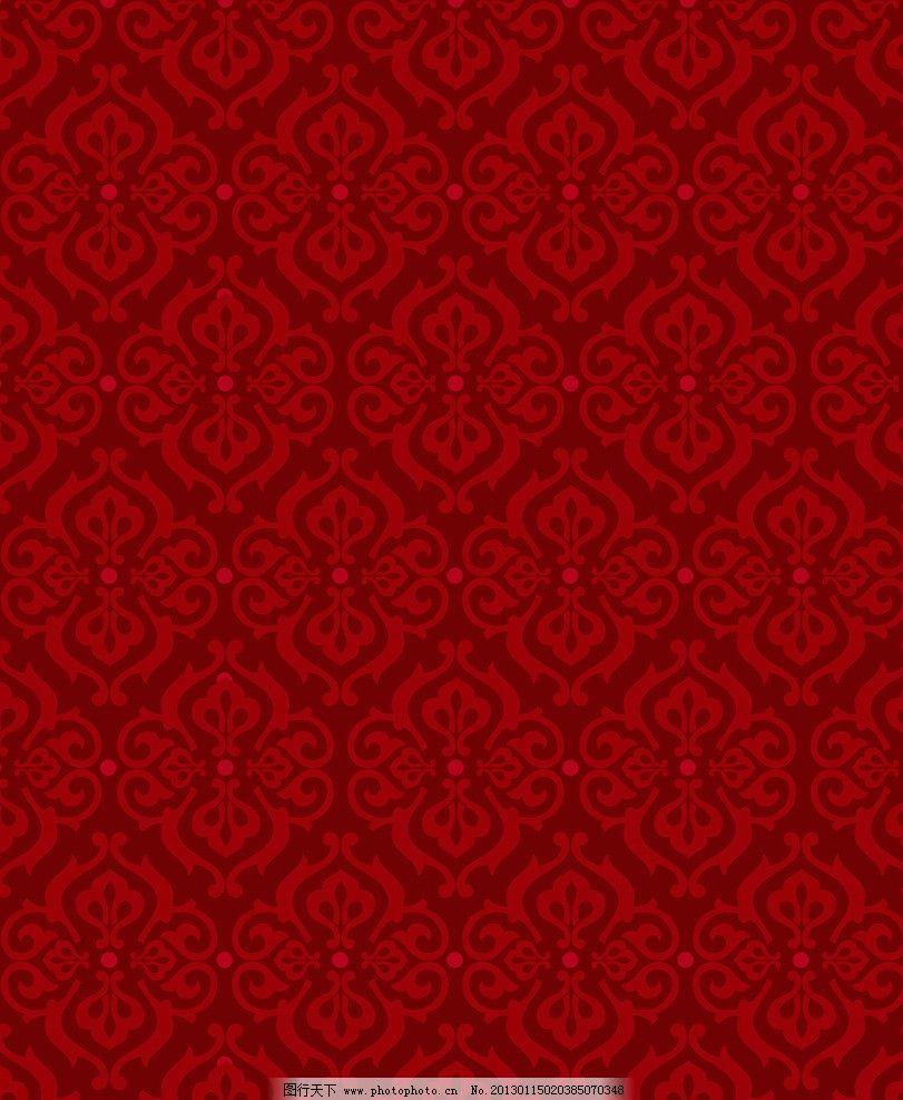 欧式花格 红色 背景 花纹 吉祥人生 团花