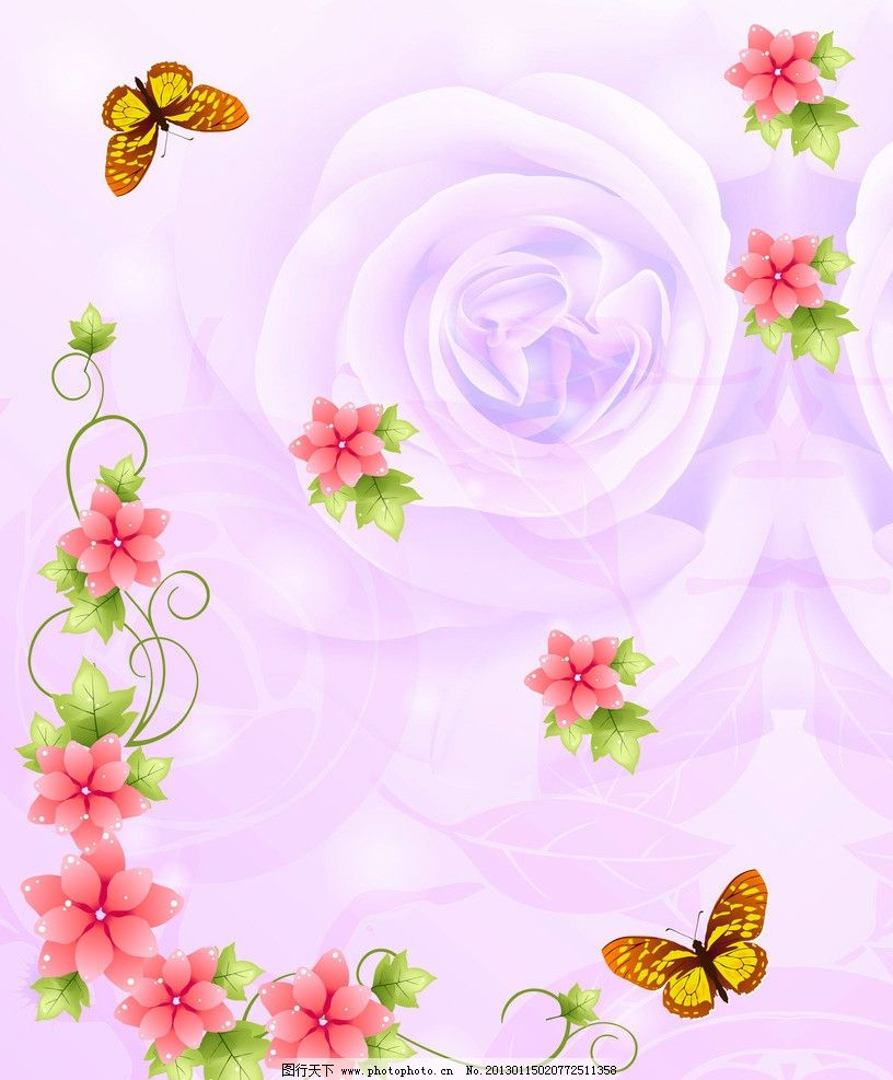 花朵移门 花朵 红花 蝴蝶 玫瑰 绿叶 藤蔓 星星 移门 设计图库 底纹