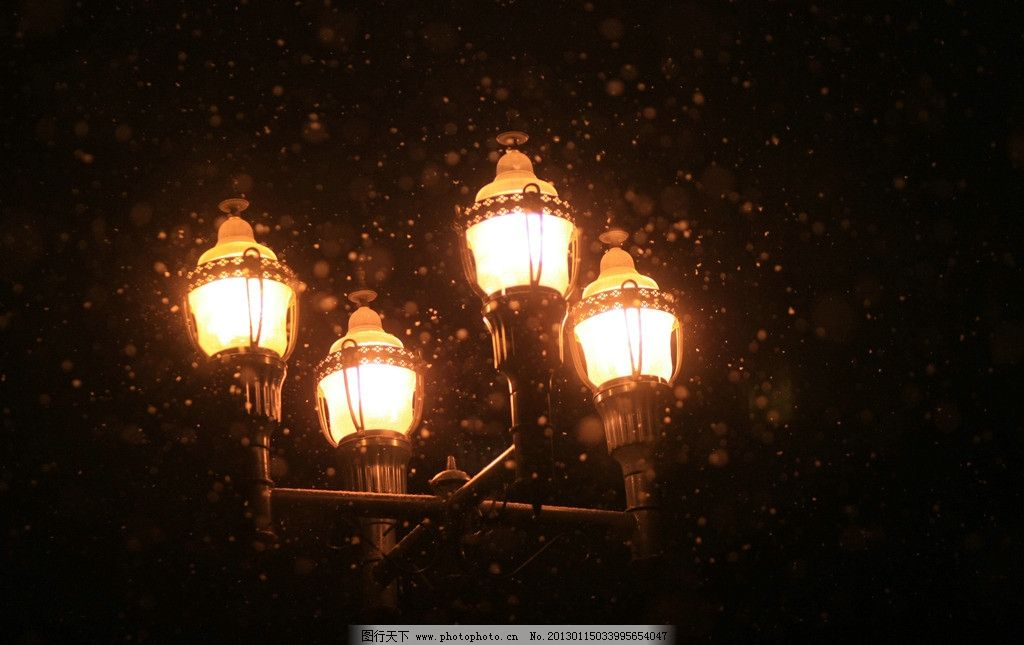 路灯下雪中的哈尔滨夜景图片
