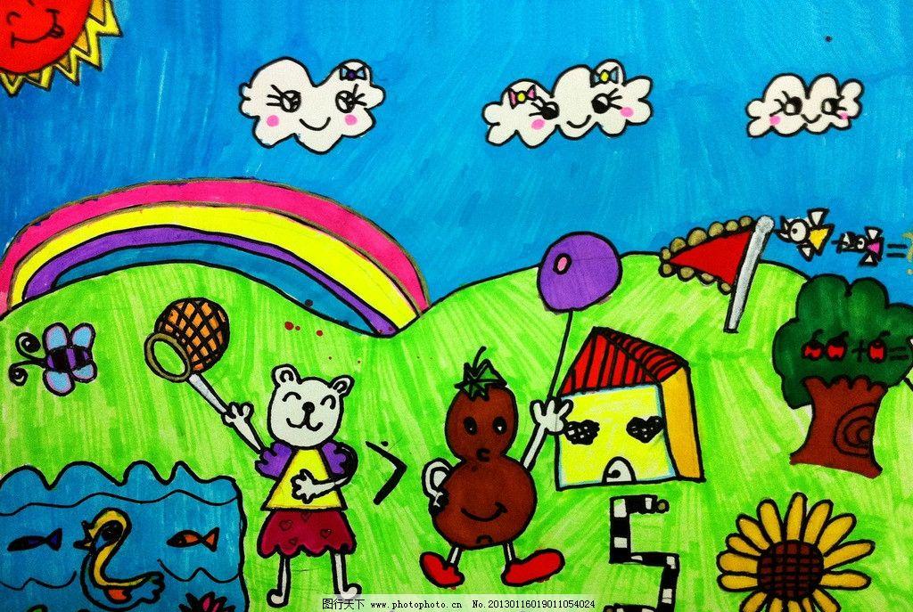 绿色春天 绘画 儿童画 彩色画 绿地 花朵 花草 鸟儿 鸭子 小狗
