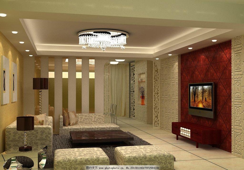 室内客厅效果图 室内 设计             天花吊顶设计 电视背景墙
