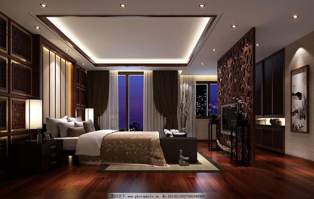 室内卧室效果图 室内 设计             隔板 天花吊顶设计 墙面设计