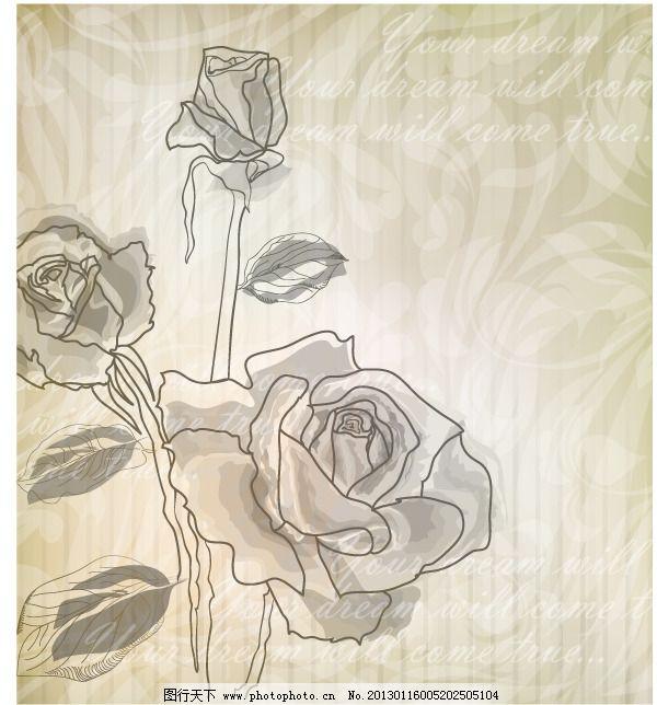 矢量线描淡雅玫瑰图片免费下载 手绘 图片素材 手绘 淡彩玫瑰 线描
