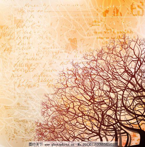 创意枯树树枝纹路背景矢量素材