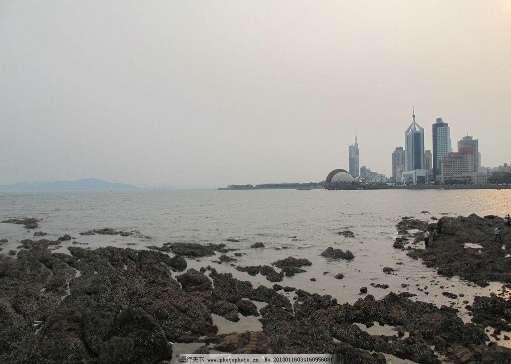 青岛景观 海边 城市 大海 礁石 黄昏 旅游摄影