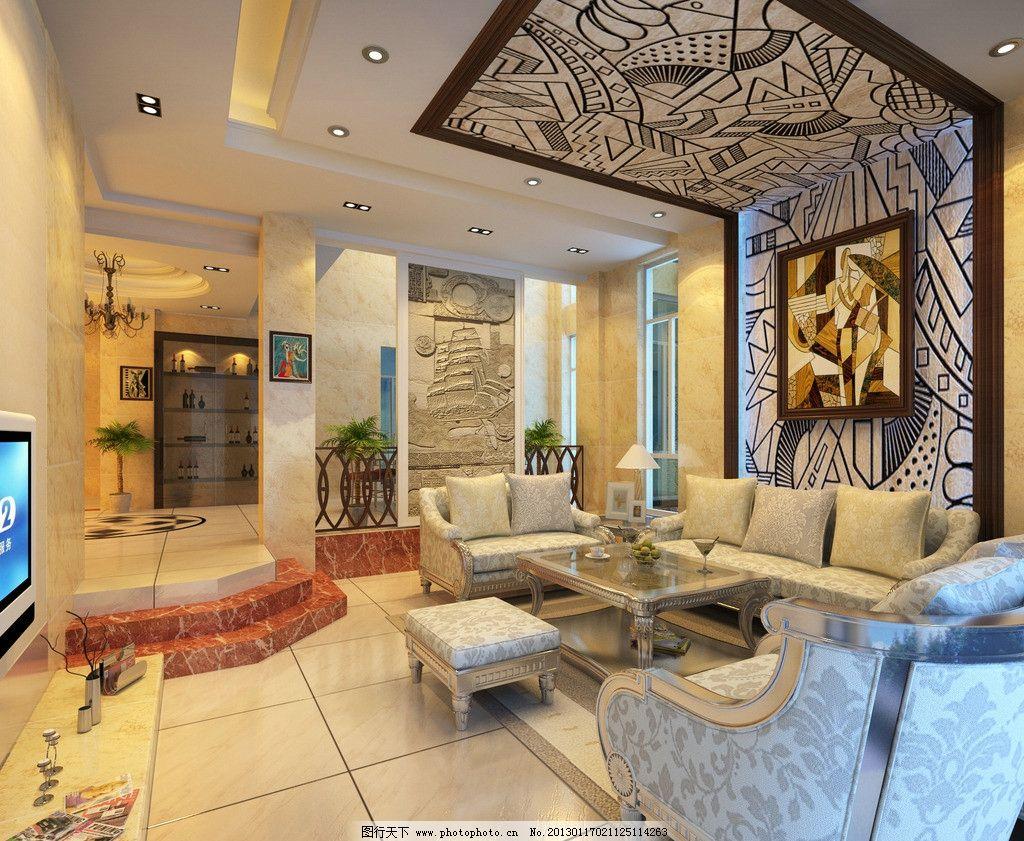 客厅效果图图片,室内设计 沙发 欧式 背景墙 室内效果