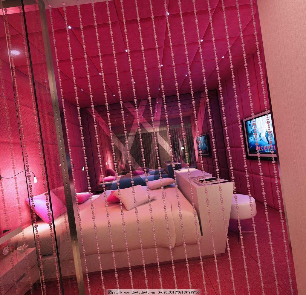卧室效果图             室内设计 床 欧式 红色 珠帘 室内效果图 3d