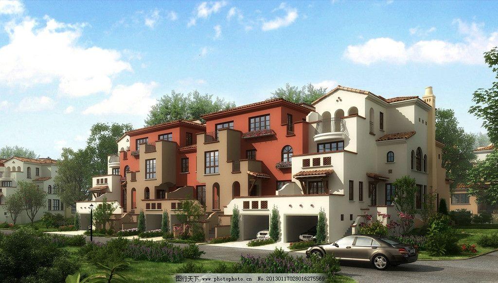 别墅 建筑 效果图 公寓 洋房 车库 地中海 欧式 透视 建筑效果图