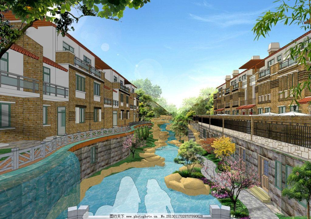 小区景观 小区景观绿化 欧式别墅 景观设计 园林设计 环境设计 源文件