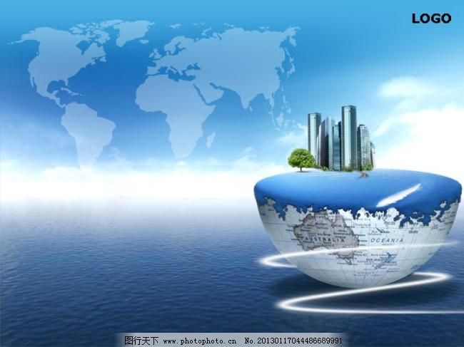 大气宏伟的海洋背景商务ppt模板