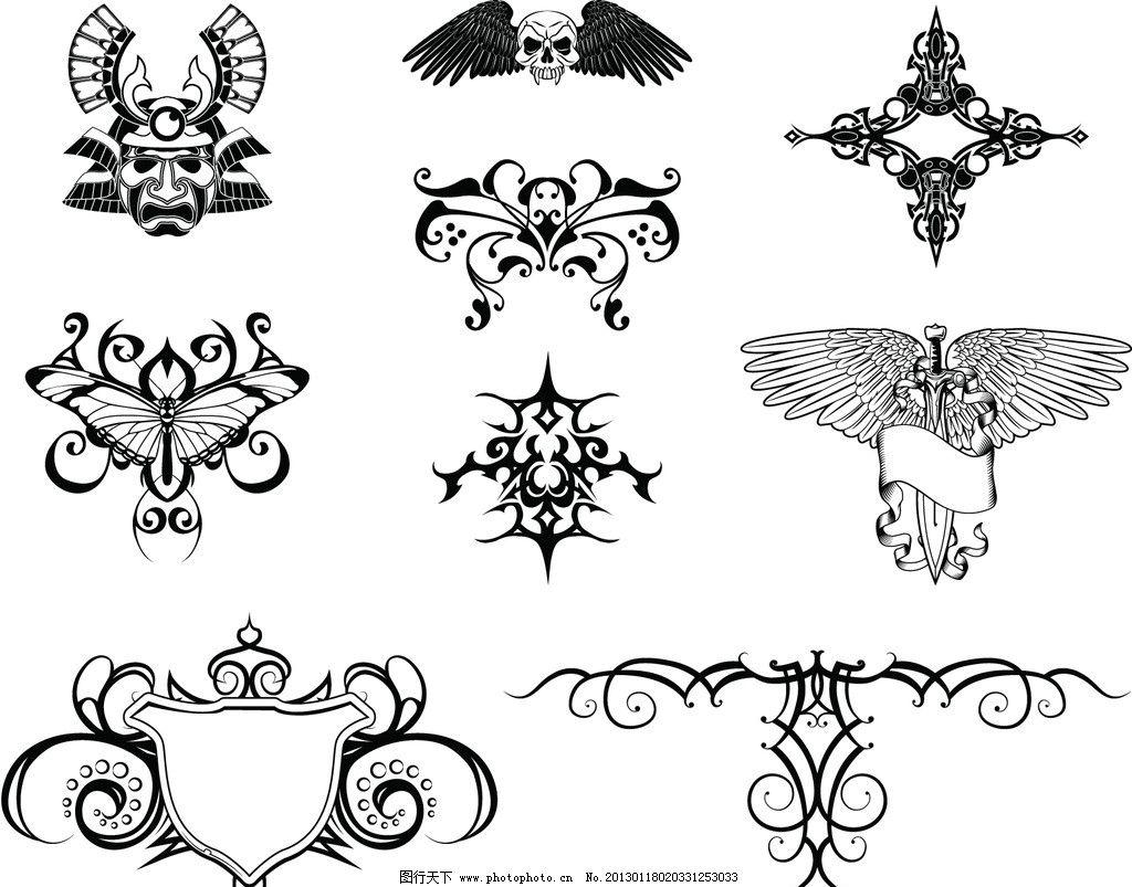 时尚花纹蝴蝶矢量素材 蝴蝶 蜻蜓 纹身 花纹 花边 时尚 潮流 黑白