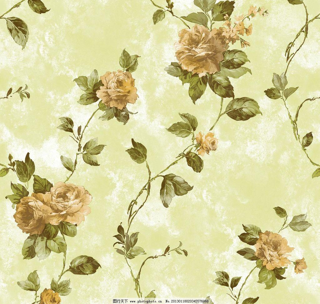 藤条壁纸 田园 藤花 花朵 叶子 手绘花 干画法 藤条花壁纸