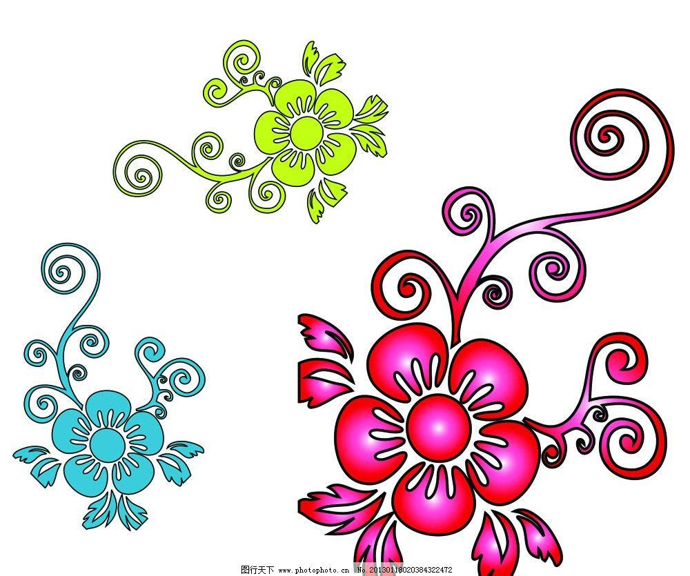绚丽花朵 蔓藤 花朵 花纹花边 底纹边框 矢量 ai
