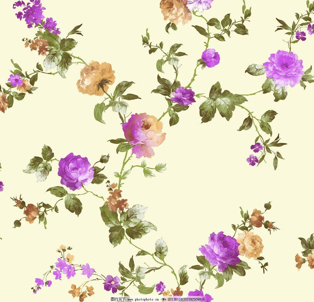 田园 紫色 花朵 叶子 壁纸 藤条 手绘花 藤条花壁纸 花边花纹 底纹