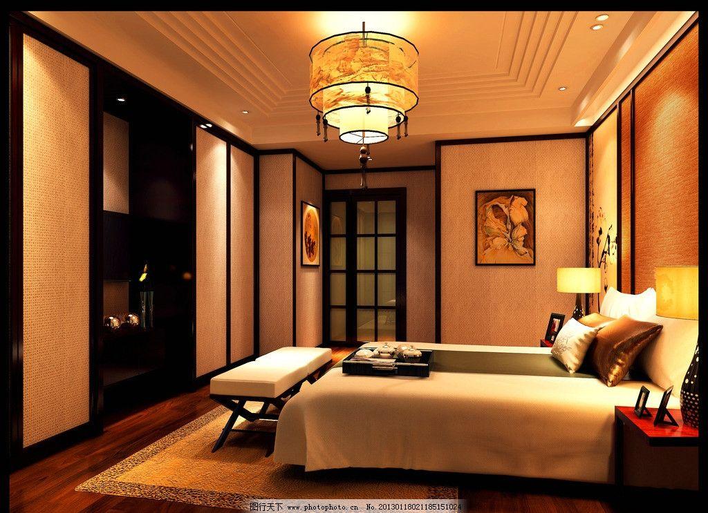 别墅主卧室 中式 禅意 清雅 简约 效果图 室内设计