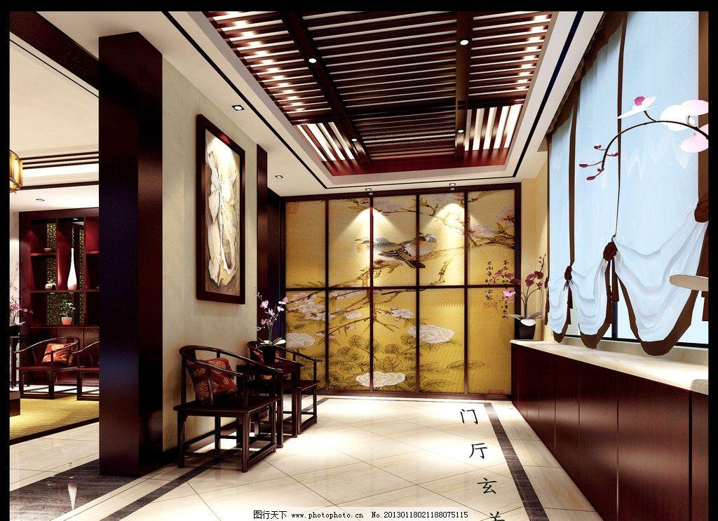 别墅玄关 大气 中式 实木 大理石 效果图 室内设计