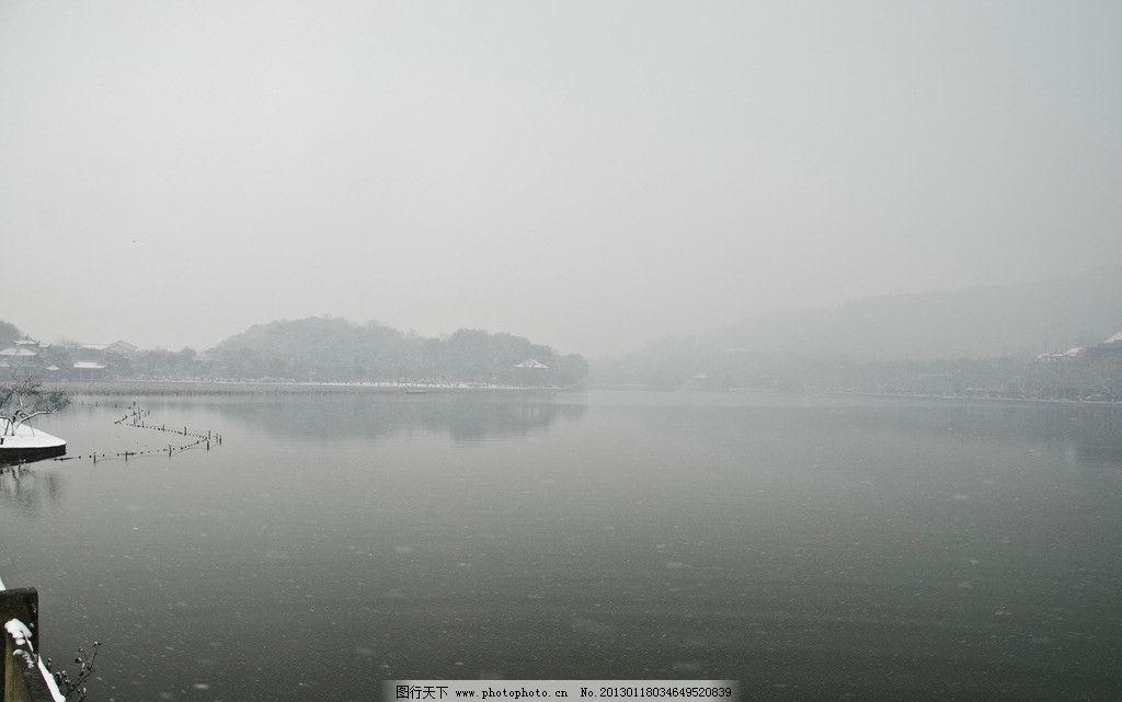 古建筑 西湖 西湖风景 下雪 雪花 栅栏 倒影 风景名胜 自然景观 摄影