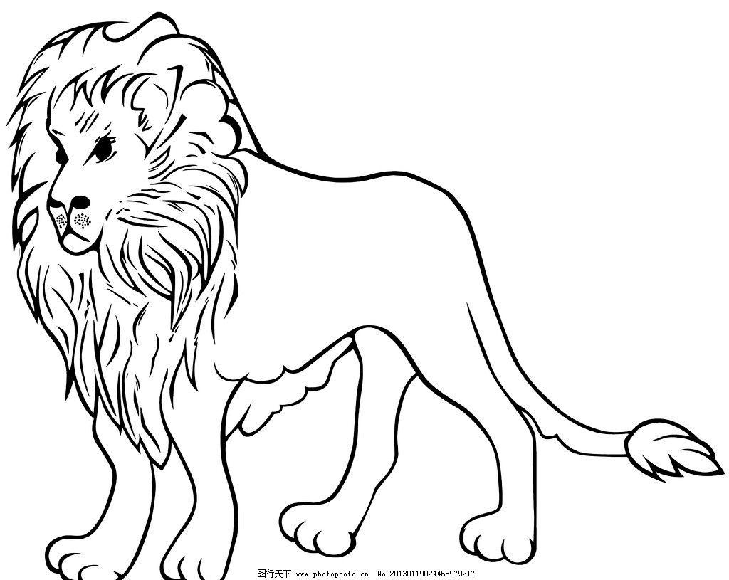 狮子 动物 线条 黑白 野生动物 生物世界 设计 300dpi tif