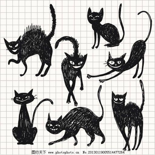 线稿手绘猫咪