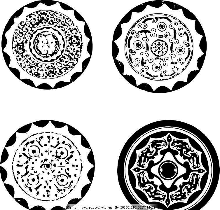 铜镜纹 古典花纹 花边 传统文化 文化艺术 矢量 ai