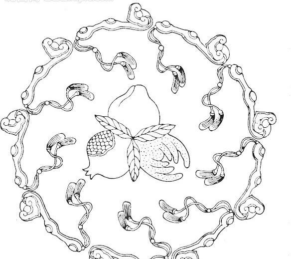 植物 瓜果纹 桃子 石榴 玉如意 水果纹图片图片